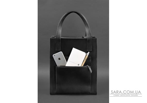 Шкіряна жіноча сумка шоппер Бетсі з кишенею чорна - BN-BAG-10-1-g-kr BlankNote