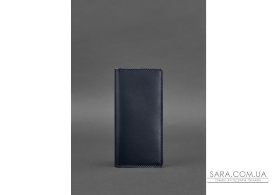 Шкіряне портмоне-купюрник 11.0 темно-синє Краст - BN-PM-11-navy-blue BlankNote