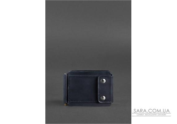 Чоловіче шкіряне портмоне синє 10.0 затиск для грошей Crazy Horse - BN-PM-10-nn BlankNote