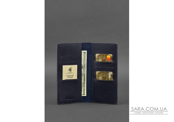 Шкіряне портмоне-купюрник 11.0 темно-синє Crazy Horse - BN-PM-11-nn BlankNote