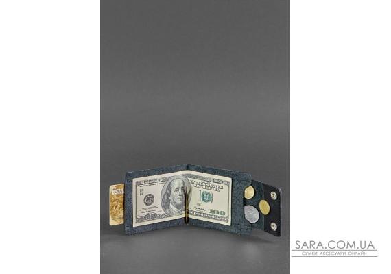 Чоловіче шкіряне портмоне чорне 10.0 затиск для грошей - BN-PM-10-g BlankNote