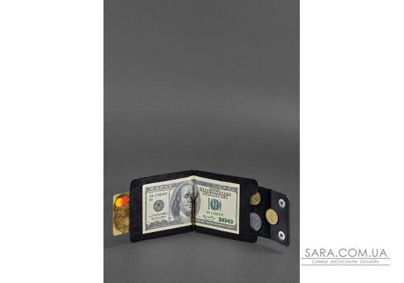 Чоловіче шкіряне портмоне чорне 10.0 затиск для грошей Crazy Horse - BN-PM-10-g-kr BlankNote