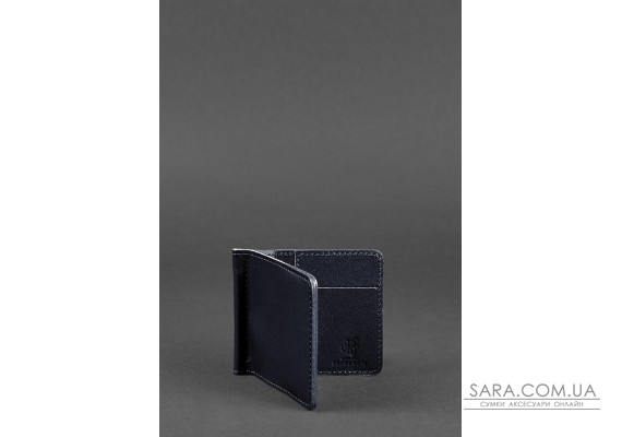 Чоловіче шкіряне портмоне синє Краст 1.0 затиск для грошей - BN-PM-1-navy-blue BlankNote