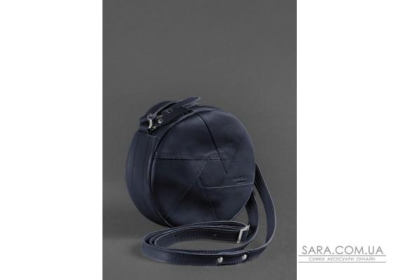 Шкіряна кругла жіноча сумка Бон-Бон темно-синя - BN-BAG-11-navy-blue BlankNote