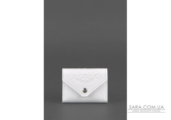 Жіночий шкіряний кард-кейс 3.0 (Гармошка) Білий з мандалою - BN-KK-3-light BlankNote