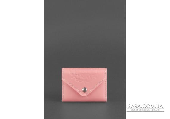 Жіночий шкіряний кард-кейс 3.0 (Гармошка) Рожевий з мандалою - BN-KK-3-pink-peach BlankNote