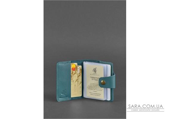 Жіночий шкіряний кард-кейс 7.1 (Книжечка) зелений - BN-KK-7-1-malachite BlankNote