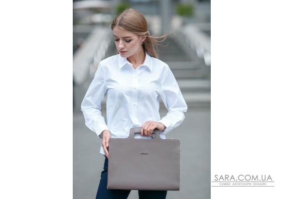 Жіноча шкіряна сумка для ноутбука і документів темно-бежева - BN-BAG-36-beige BlankNote