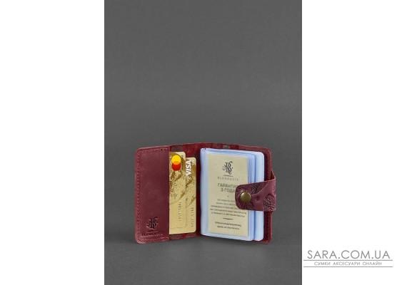 Жіночий шкіряний кард-кейс 7.1 (Книжечка) бордовий з пір'ям - BN-KK-7-1-vin-pero-kr BlankNote