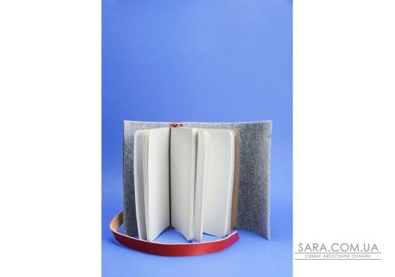 Фетровий жіночий блокнот (Софт-бук) 1.0 Фетр з шкіряними бордовими вставками - BN-SB-1-st-flt-vin BlankNote