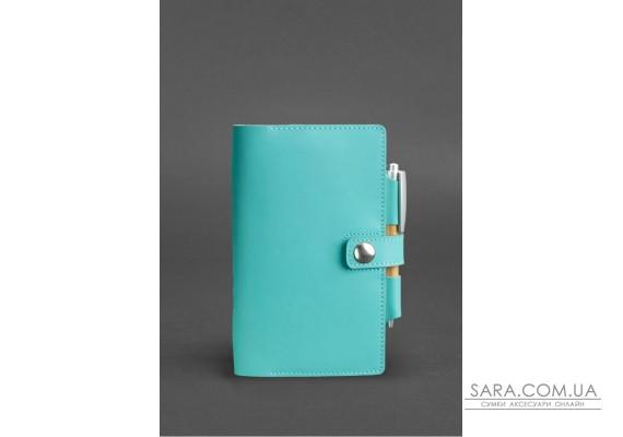 Жіночий шкіряний блокнот (Софт-бук) 4.0 бірюзовий - BN-SB-4-tiffany BlankNote