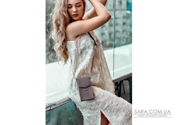 Вертикальна жіноча шкіряна сумка Mini темно-бежева поясна / кроссбоді - BN-BAG-38-1-beige BlankNote