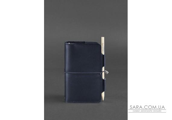 Шкіряний блокнот (Софт-бук) 3.0 синій Краст - BN-SB-3-navy-blue BlankNote