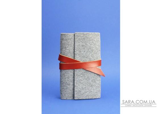 Фетровий блокнот (Софт-бук) 1.0 Фетр з шкіряними коричневими вставками - BN-SB-1-st-flt-k BlankNote
