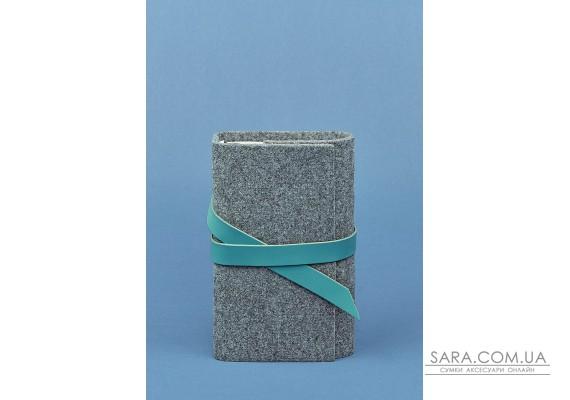 Фетровий жіночий блокнот (Софт-бук) 1.0 з шкіряними бірюзовими вставками - BN-SB-1-st-flt-tiffany BlankNote