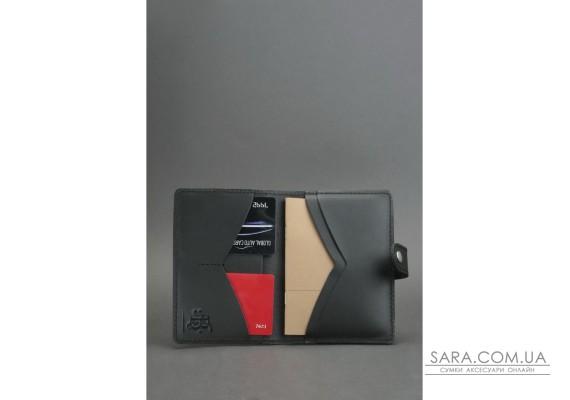 Шкіряна обкладинка для паспорта 3.0 чорна - BN-OP-3-g BlankNote