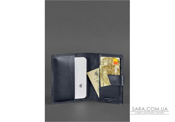Шкіряна обкладинка для паспорта 4.0 темно-синя - BN-OP-4-navy-blue BlankNote