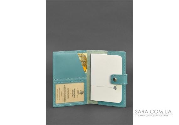 Шкіряна обкладинка для паспорта 5.0 (з віконцем) бірюзова - BN-OP-5-tiffany BlankNote