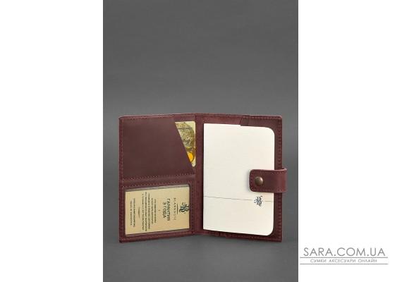 Шкіряна обкладинка для паспорта 5.0 (з віконцем) бордова Crazy Horse - BN-OP-5-vin-kr BlankNote
