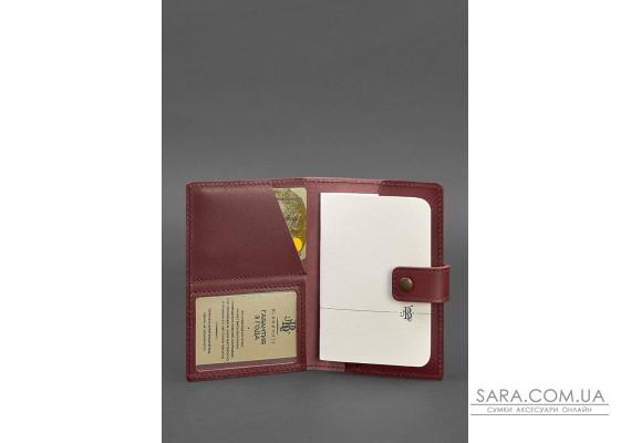 Шкіряна обкладинка для паспорта 5.0 (з віконцем) бордова Краст - BN-OP-5-vin BlankNote