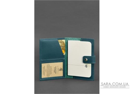 Шкіряна обкладинка для паспорта 5.0 (з віконцем) зелена - BN-OP-5-malachite BlankNote