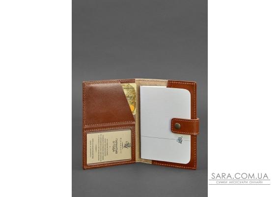 Шкіряна обкладинка для паспорта 5.0 (з віконцем) світло-коричнева - BN-OP-5-k BlankNote