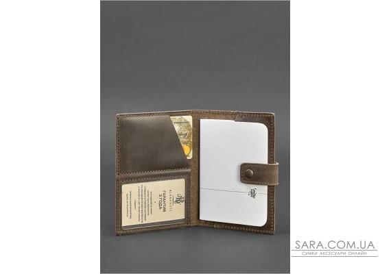 Шкіряна обкладинка для паспорта 5.0 (з віконцем) темно-коричнева - BN-OP-5-o BlankNote