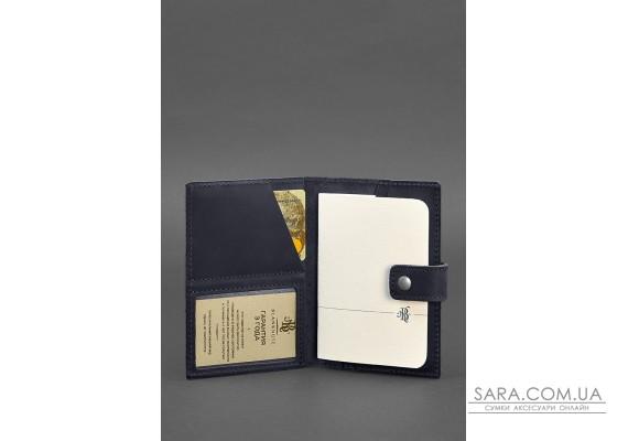 Шкіряна обкладинка для паспорта 5.0 (з віконцем) темно-синя Crazy Horse - BN-OP-5-nn BlankNote
