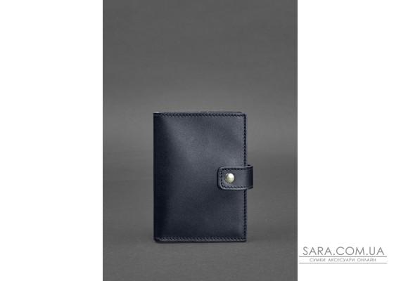 Шкіряна обкладинка для паспорта 5.0 (з віконцем) темно-синя Краст - BN-OP-5-navy-blue BlankNote