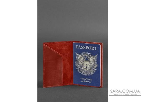 Шкіряна обкладинка для паспорта коралова з американським гербом - BN-OP-USA-coral BlankNote