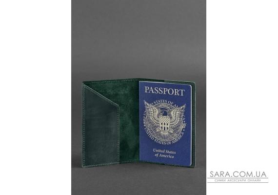 Шкіряна обкладинка для паспорта з американським гербом зелена - BN-OP-USA-iz BlankNote