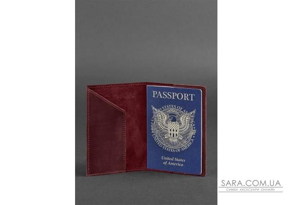 Шкіряна обкладинка для паспорта з американським гербом бордова - BN-OP-USA-vin BlankNote