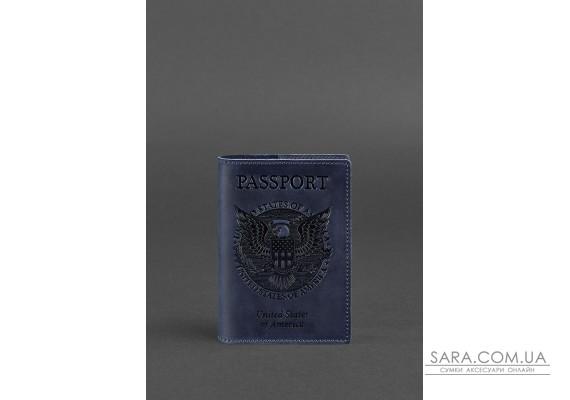 Шкіряна обкладинка для паспорта з американським гербом синя - BN-OP-USA-nn BlankNote