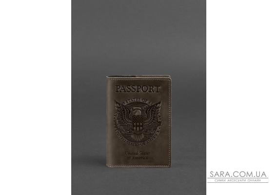 Шкіряна обкладинка для паспорта з американським гербом темно-коричнева - BN-OP-USA-o BlankNote