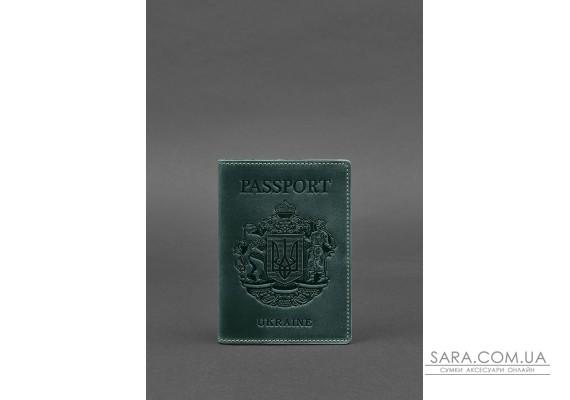 Шкіряна обкладинка для паспорта з українським гербом зелена - BN-OP-UA-iz BlankNote