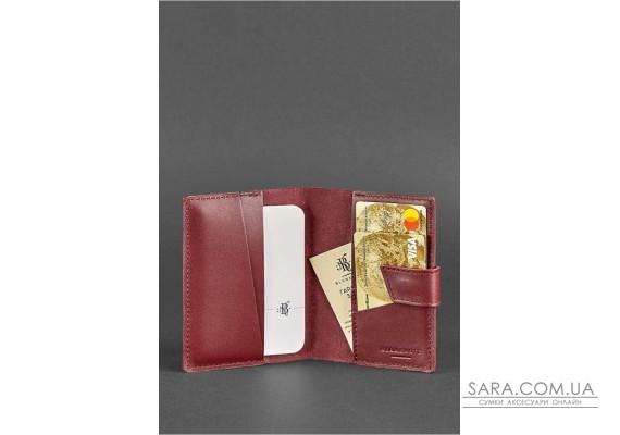 Шкіряна обкладинка для паспорта 4.0 бордова - BN-OP-4-vin BlankNote