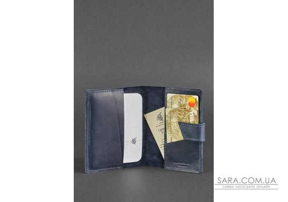 Шкіряна обкладинка для паспорта 4.0 синя - BN-OP-4-nn BlankNote