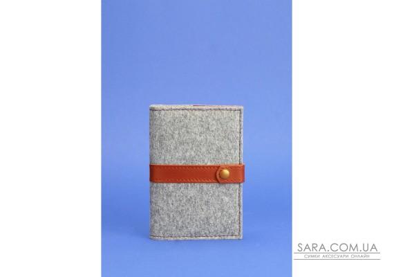 Фетрова обкладинка для паспорта 1.1 з шкіряними коричневими вставками - BN-OP-1-1-felt-k BlankNote