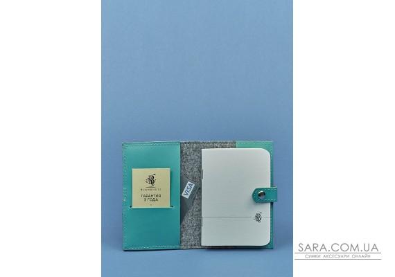 Фетрова жіноча обкладинка для паспорта 1.1 з шкіряними бірюзовими вставками - BN-OP-1-1-felt-tiffany BlankNote
