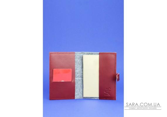 Фетрова обкладинка для паспорта 1.1 з шкіряними бордовими вставками - BN-OP-1-1-felt-vin BlankNote