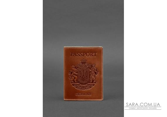 Шкіряна обкладинка для паспорта з українським гербом світло-коричнева - BN-OP-UA-k BlankNote
