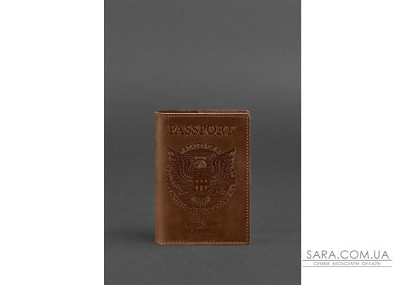 Шкіряна обкладинка для паспорта з американським гербом світло-коричнева - BN-OP-USA-ko BlankNote