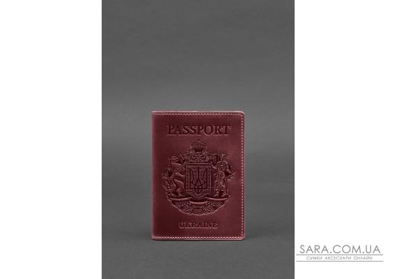 Шкіряна обкладинка для паспорта з українським гербом бордова - BN-OP-UA-vin BlankNote