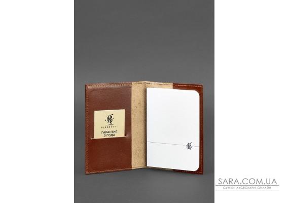 Шкіряна обкладинка для паспорта 1.2 світло-коричнева - BN-OP-1-2-k BlankNote