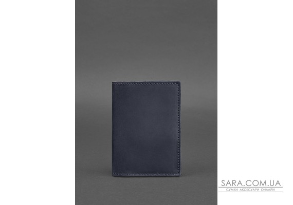 Шкіряна обкладинка для паспорта 1.2 синя Crazy Horse - BN-OP-1-2-nn BlankNote