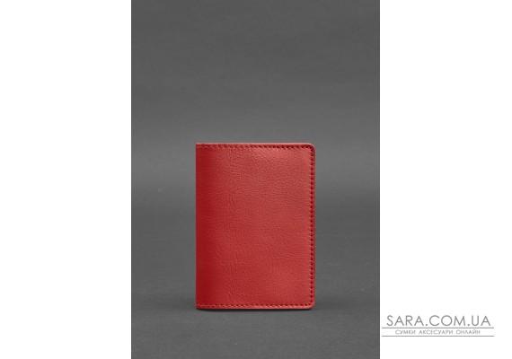 Шкіряна обкладинка для паспорта 1.3 червона - BN-OP-1-3-red BlankNote
