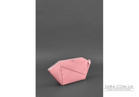 Женская розовая кожаная косметичка Краст - BN-CB-2-pink-peach BlankNote