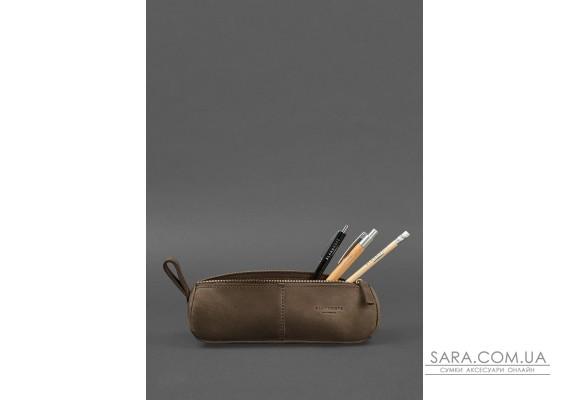 Кожаный пенал-несессер (футляр для очков) 4.0 Темно-коричневый Crazy Horse - BN-CB-4-o BlankNote