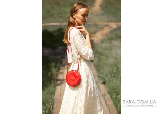 Шкіряна кругла жіноча сумка Бон-Бон червона - BN-BAG-11-red BlankNote