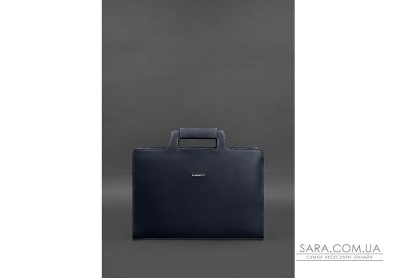Шкіряна сумка для ноутбука і документів темно-синя Краст - BN-BAG-36-navy-blue BlankNote